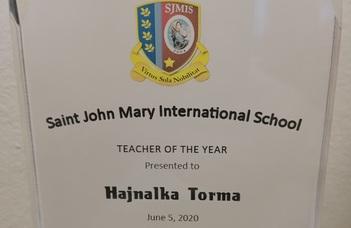 Torma Hajnalka év tanára elismerést kapott Thaiföldön